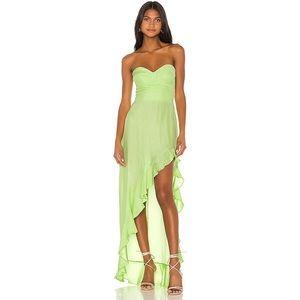 Amanda Uprichard Amalia Silk Gown Dress Green